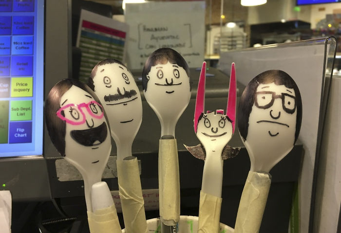 I Got Bored At Work, So I Drew The Belchers On Spoons