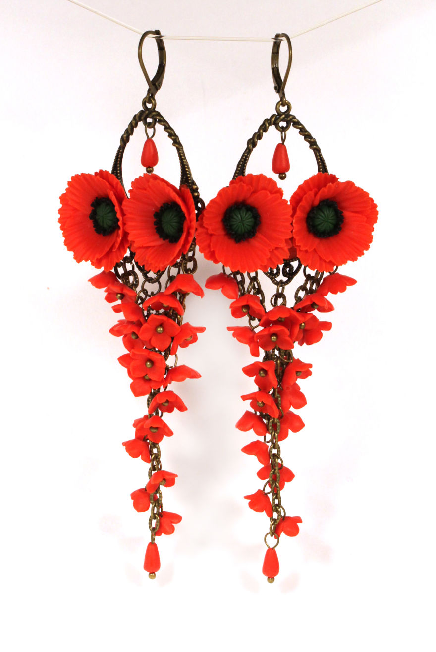 Long Earrings With Poppies