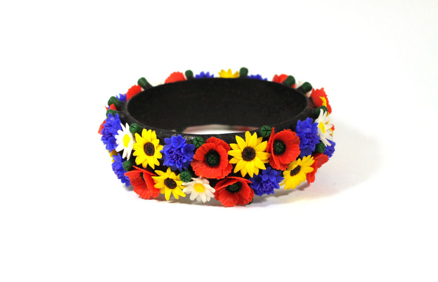 Bracelet With Poppies, Cornflowers, Sunflowers And Chamomiles