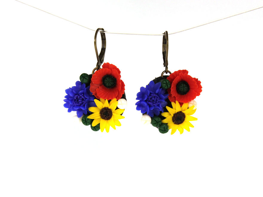 Earrings With Poppies, Cornflowers And Sunflowers