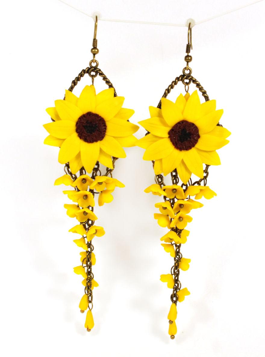 Sunflower Long Earrings