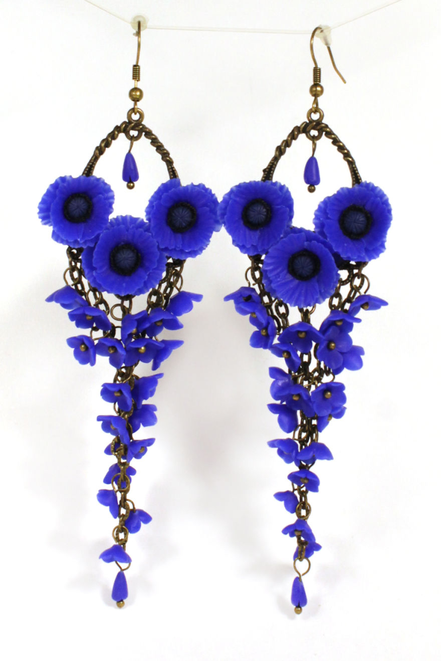 Long Earrings With Blue Poppies