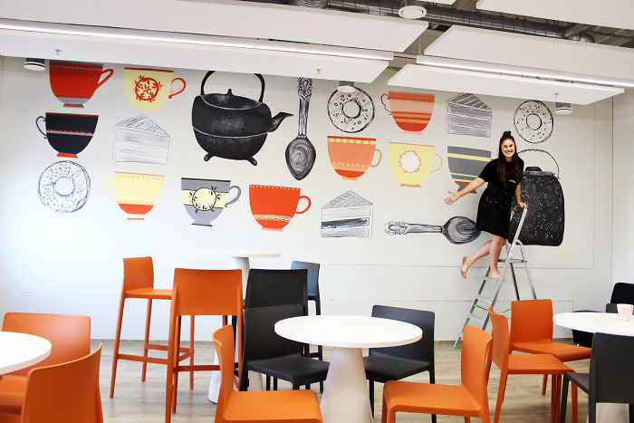 I Spent Three Days To Create This Sweet Wall Painting At Big And Modern Kitchen