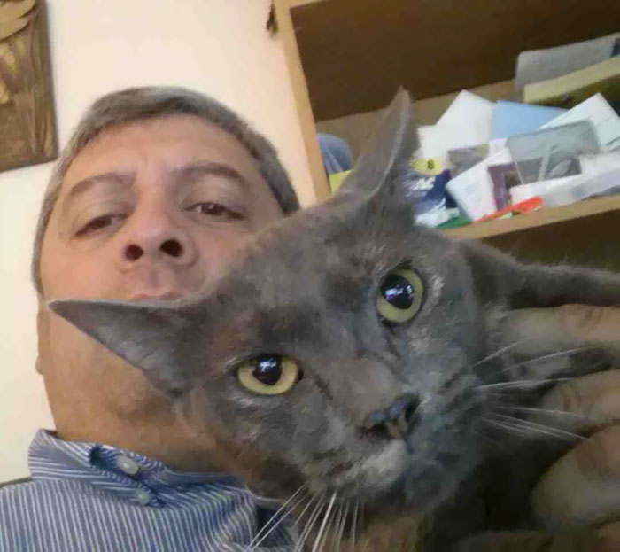 My Dad Claims To Hate My Cat. Turns Out He Takes Selfies With Her