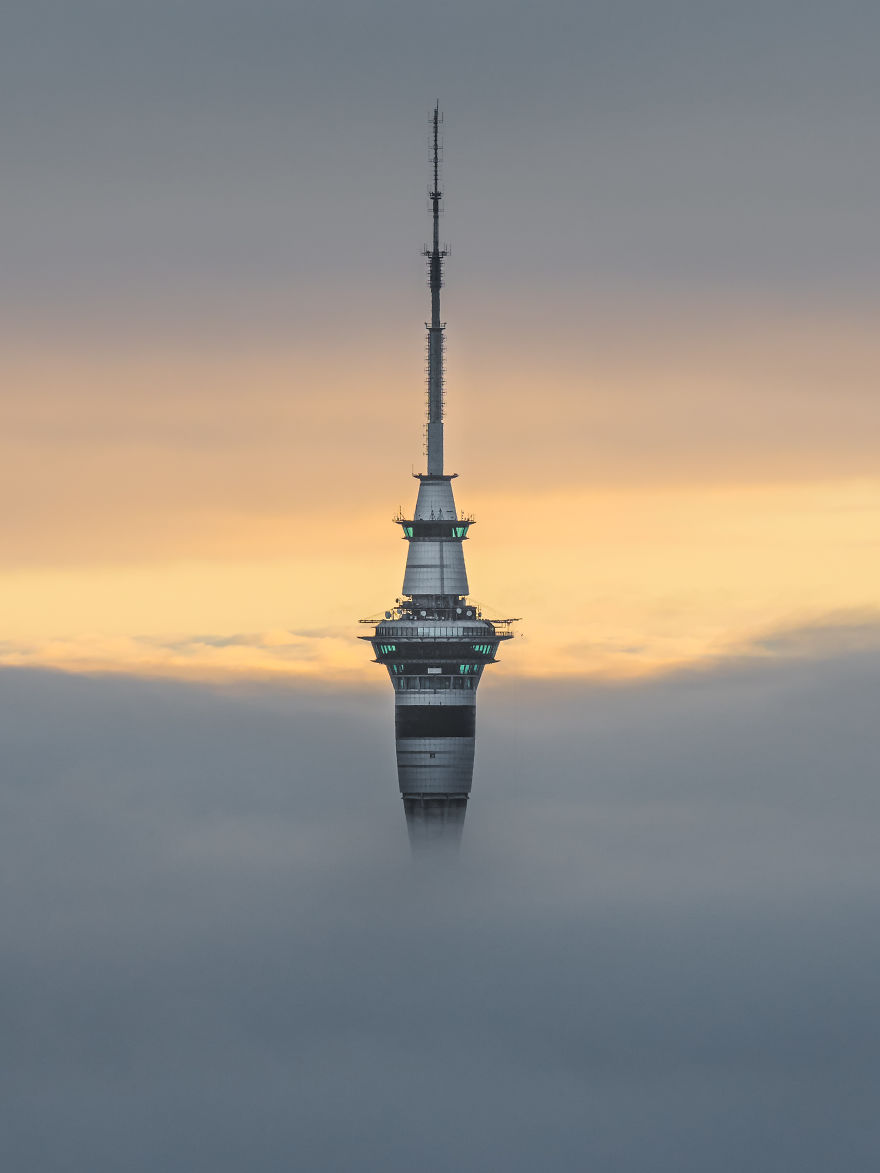 Auckland Sky Tower In A Sea Of Fog