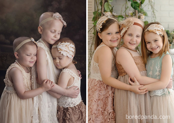 3-Year-Old Rylie, 6-Year-Old Rheann, And 4-Year-Old Ainsley Recreated Their Viral Photo 3 Years Later. All The Girls Are Now Cancer Free