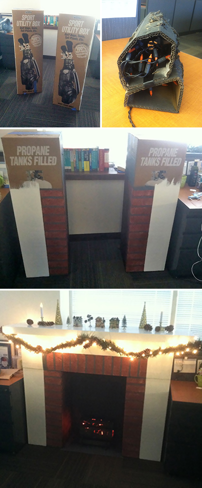 Made A Cardboard Fireplace To Lighten The Mood At Work