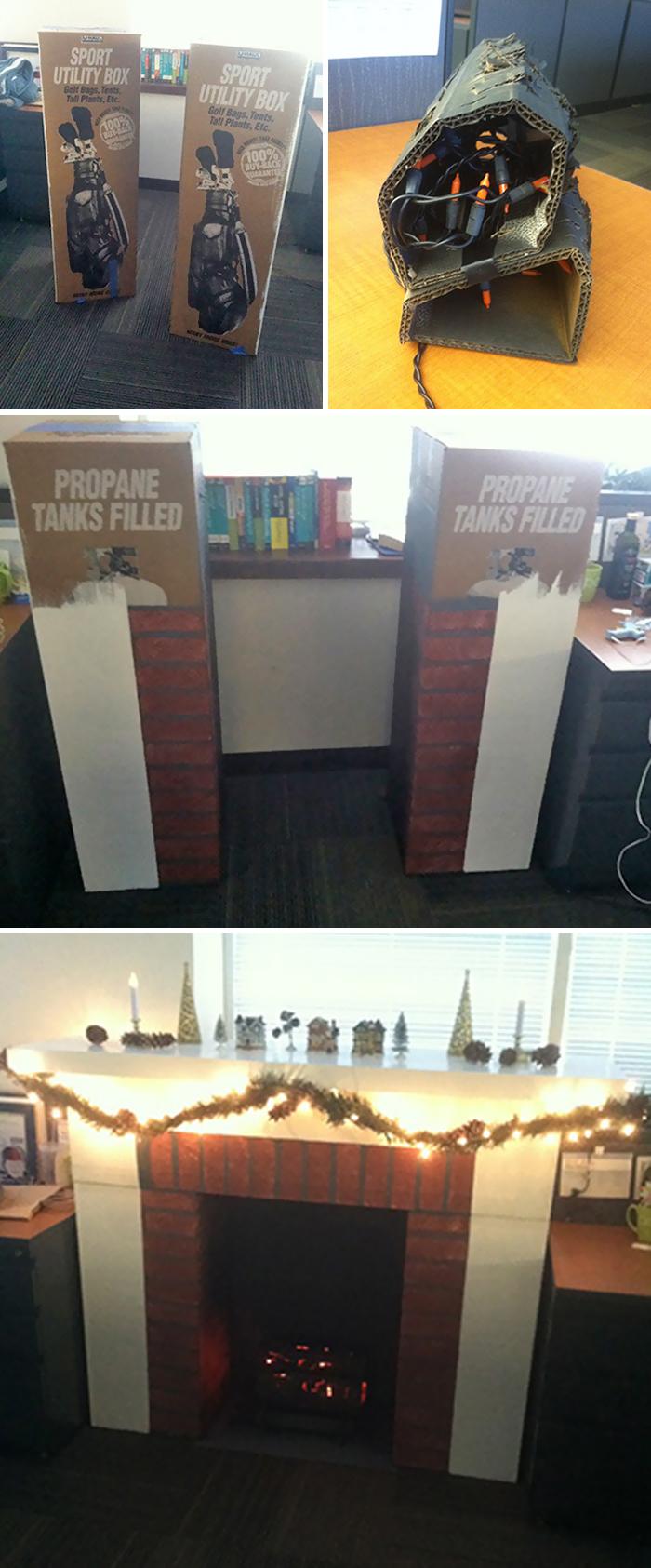 Hice una chimenea de cartón para mejorar el humor en el trabajo