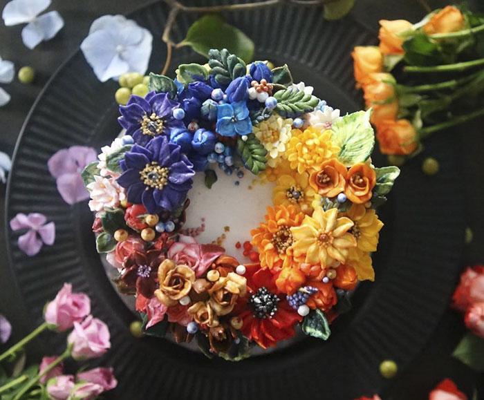 Tartas florales de crema de mantequilla que son demasiado hermosas para comérselas