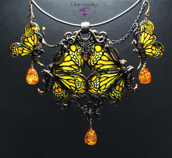 Art Nouveau Style Jewellery,tiffany Glass Imitation From Polymer Clay
