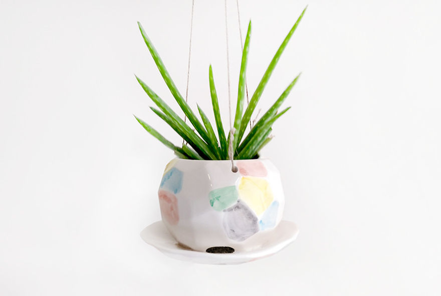 Multicolor Faceted Hanging Planter