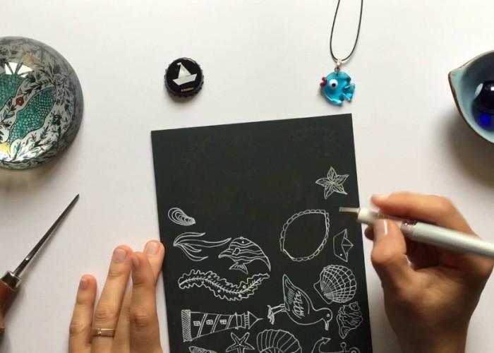 Sea Life Drawing On Linoleum