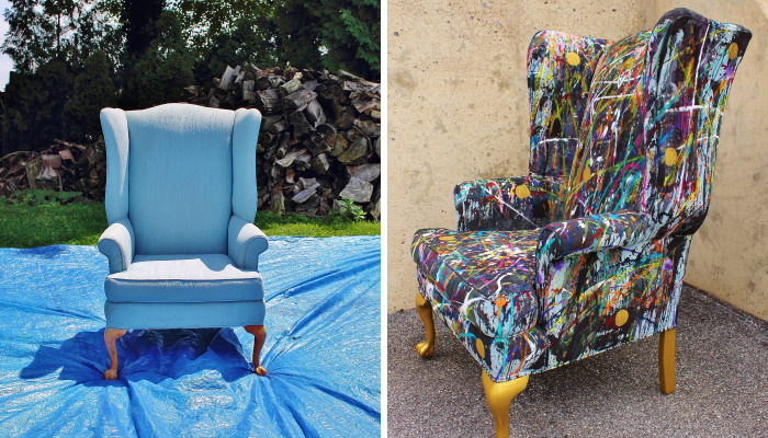 I Threw Buckets Of Paint On An Old Chair. Here's What Happened