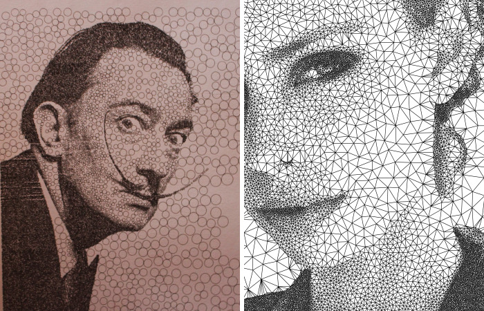 I Programmed A Pen Plotter To Draw Portraits With Circles And Triangles