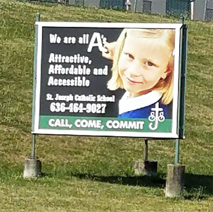 This Sign For A Private Catholic School