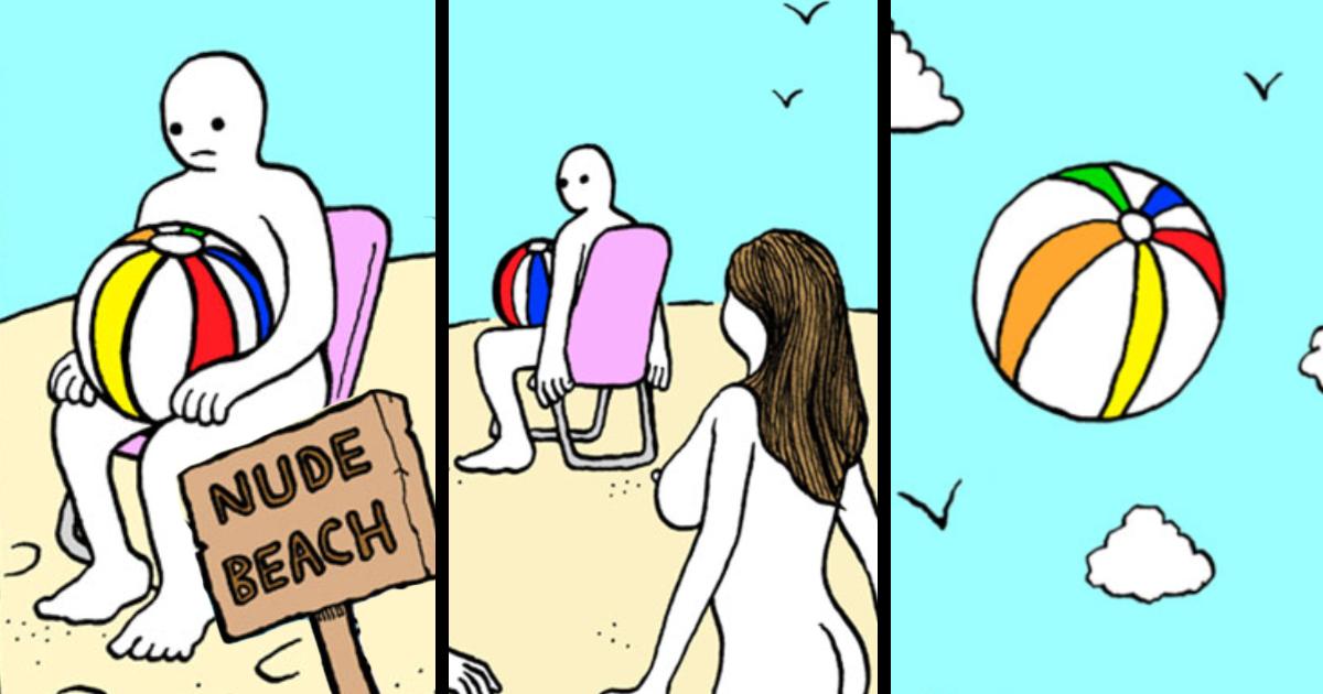 Nude comic humor beach good idea