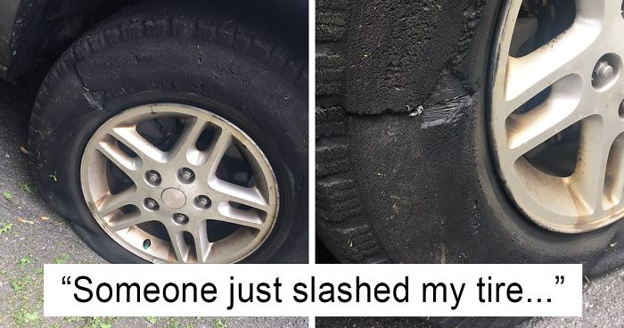 42171f6ad01 Woman Posts Pics Of Her  Slashed Tire  On Twitter