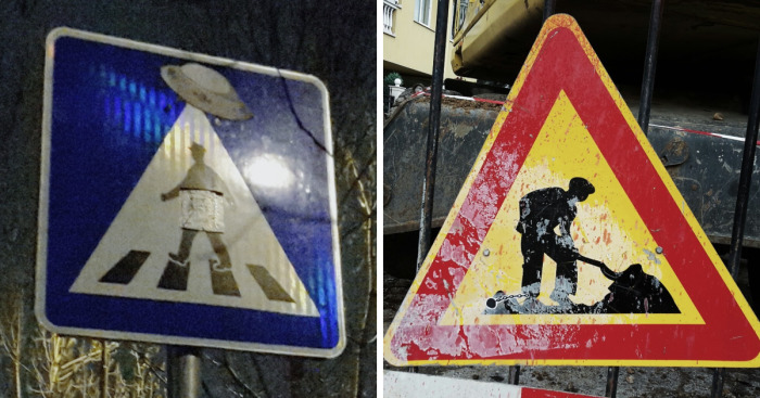 "I Raise The Spirits Of Passersby By ""Upgrading"" Traffic Signs In Sofia, Bulgaria"