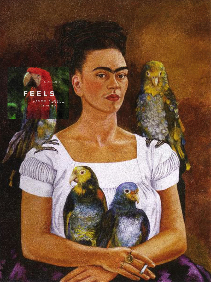 Feels By Calvin Harris Ft. Katy Perry, Pharrel And Big Sean + Me And My Parrots By Frida Kahlo