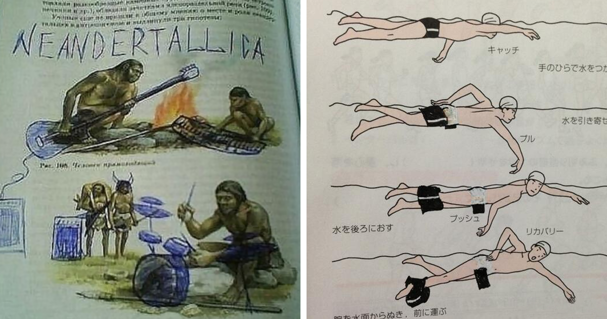 10+ Examples Of Genius Textbook Vandalism By Bored Students That Can Almost Be Forgiven
