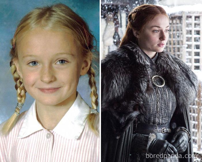 Sophie Turner de niña y como Sansa Stark