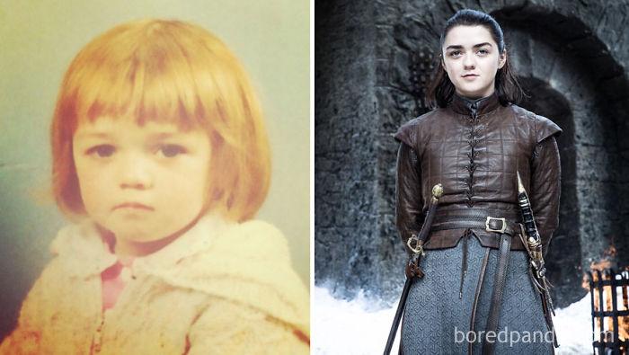 Maisie Williams de niña y como Arya Stark