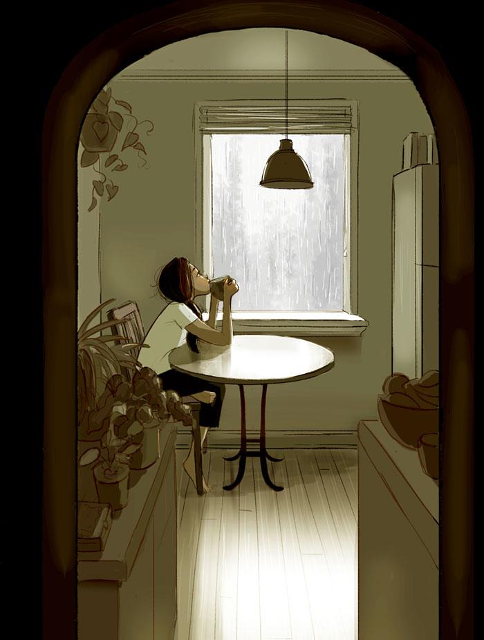 Enjoying A Cup Of Tea While Watching The Rain