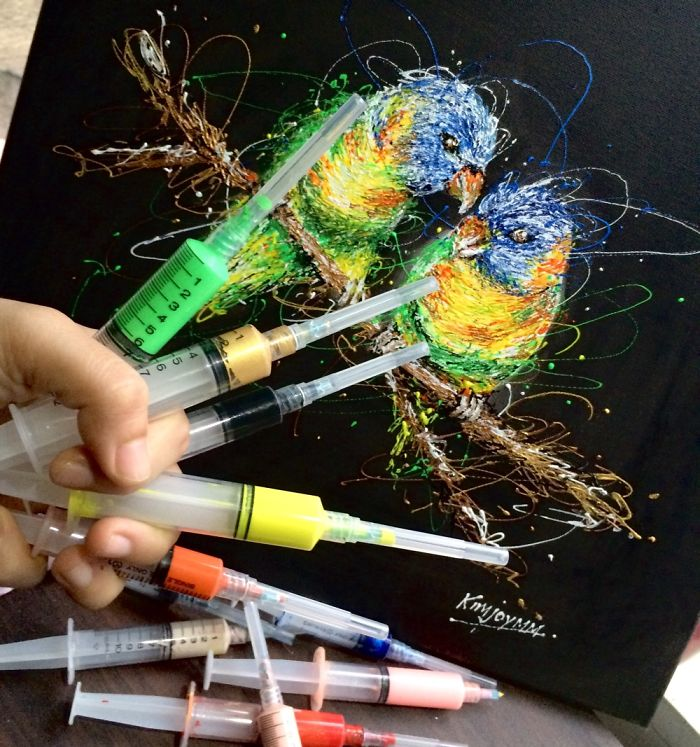I'm A Nurse And I Use Syringes To Paint In My Free Time