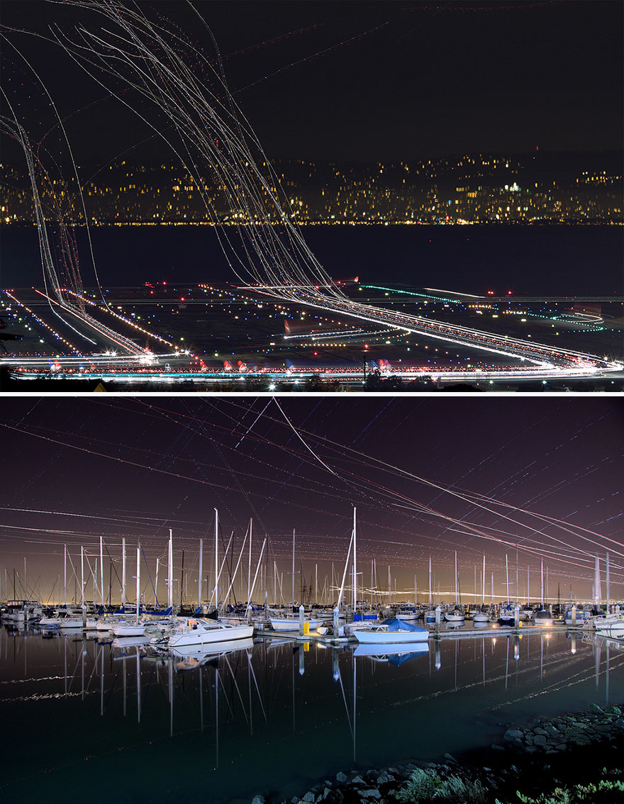 Long Exposure Of Air Traffic Above San Francisco