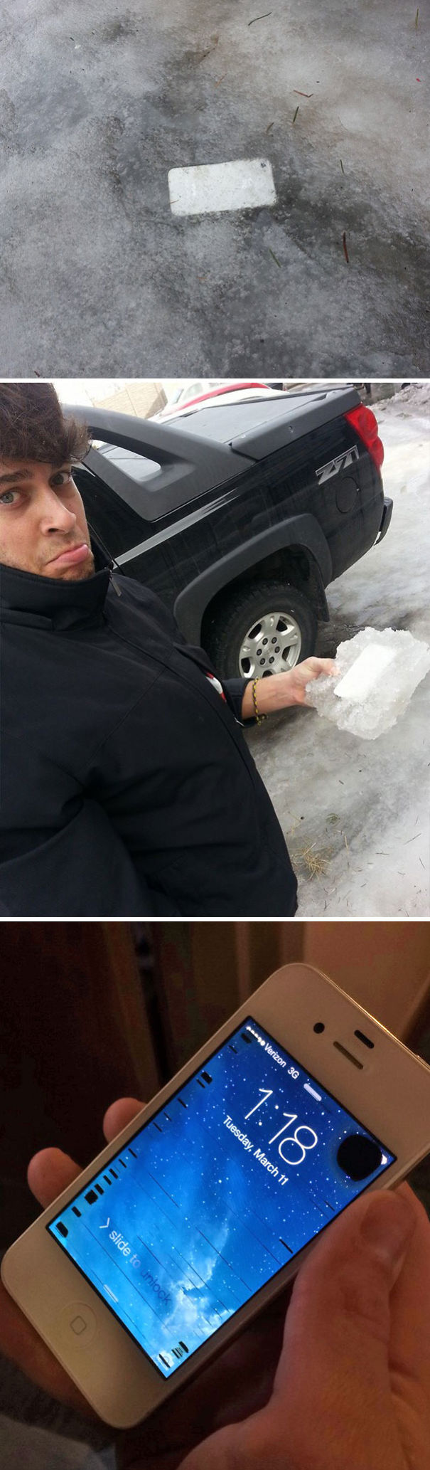 My Buddy Lost His iPhone In Early February And Just Found It, Frozen Into Our Driveway. And It Still Works!