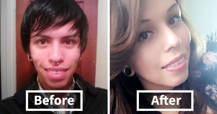 Transsexual before and after transition