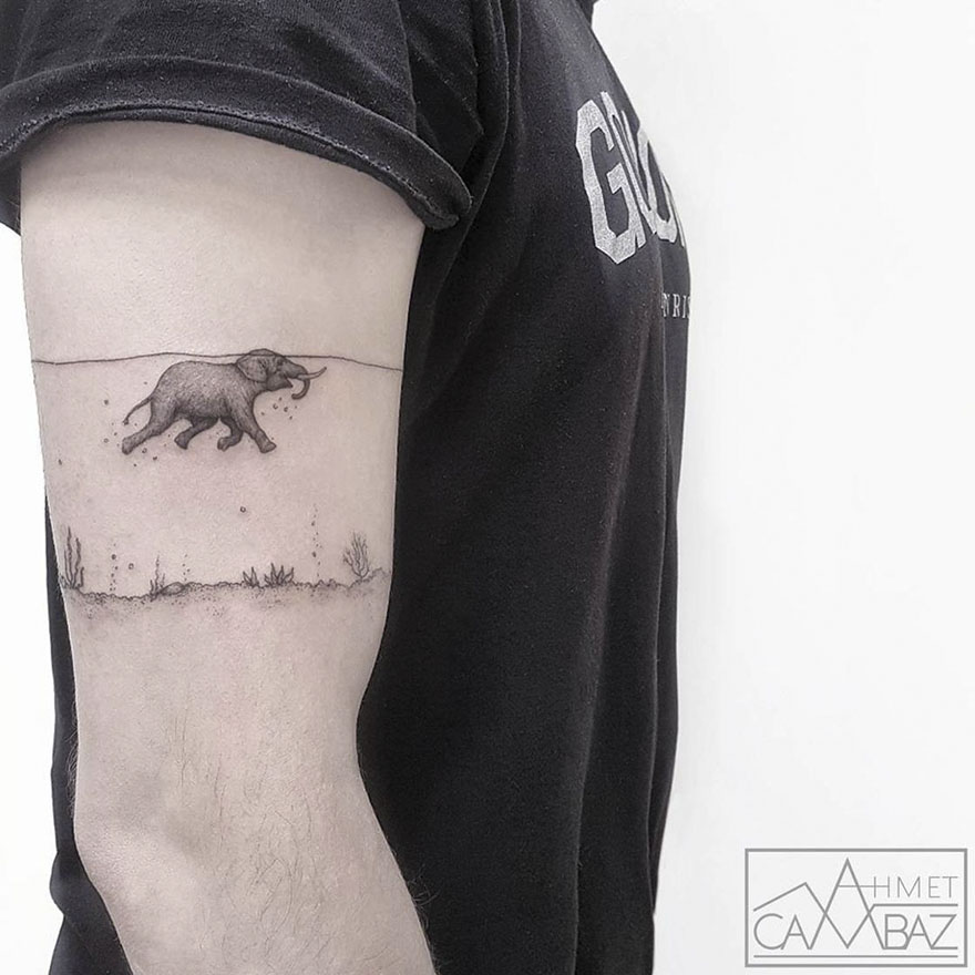 simple elephant tattoo trunk up