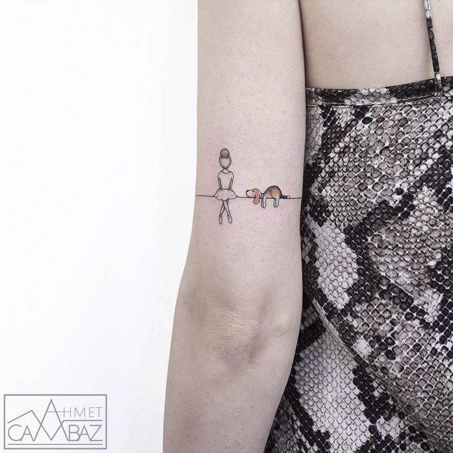 simple line elephant tattoo