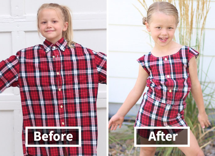 Genius Mom Uses Husband's Old Shirts To Make Dresses For Her Daughters, And Result Is Amazing