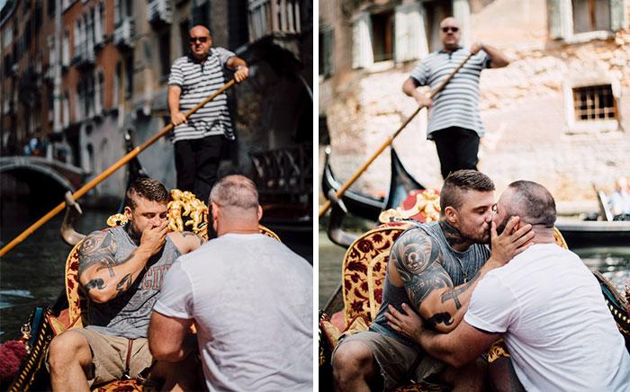Le pidieron matrimonio por sorpresa en Venecia a este ex-saltador olímpico, y sus fotos triunfan en internet