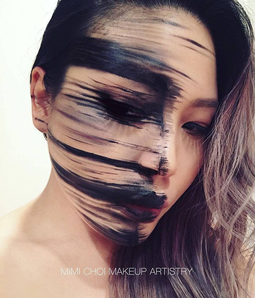 Оптико-иллюзия грим-мими-ча, Использование макияжа на себе для оптических иллюзий