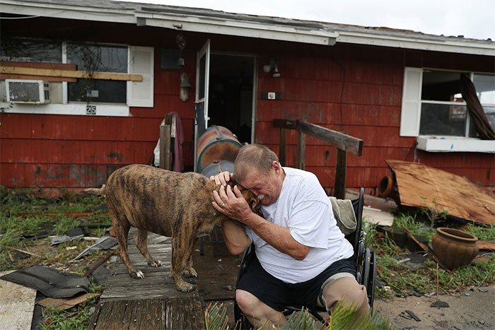Steve Culver Cries With His Dog Otis As He Talks About What He Said Was The, ' Most Terrifying Event In His Life,' When Hurricane Harvey Blew In And Destroyed Most Of His Home While He And His Wife Took Shelter There