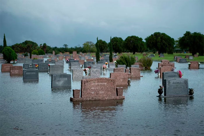 A Flooded Graveyard In Pearland