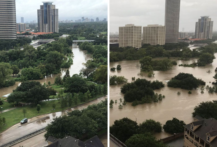 24 Hour Difference In Houston From Harvey 2017
