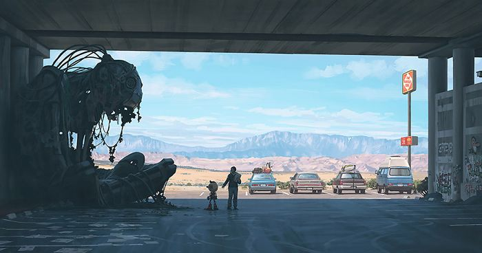 Girl And Her Robot Travel Through Wastelands In Alternate 90s USA In Chilling Illustrations