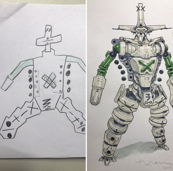 Dad Turns His Sons' Doodles Into Anime Characters, And The Result Is Amazing (Part III)