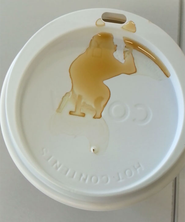 I Spilled My Coffee... Looks Like A Monkey!