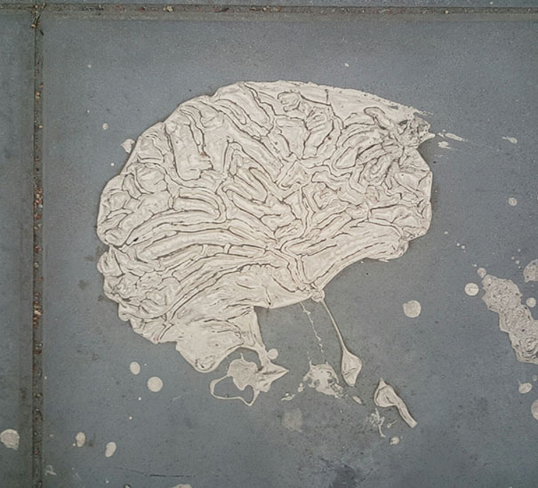 This Paint Mark On The Sidewalk Looks Like A Human Brain