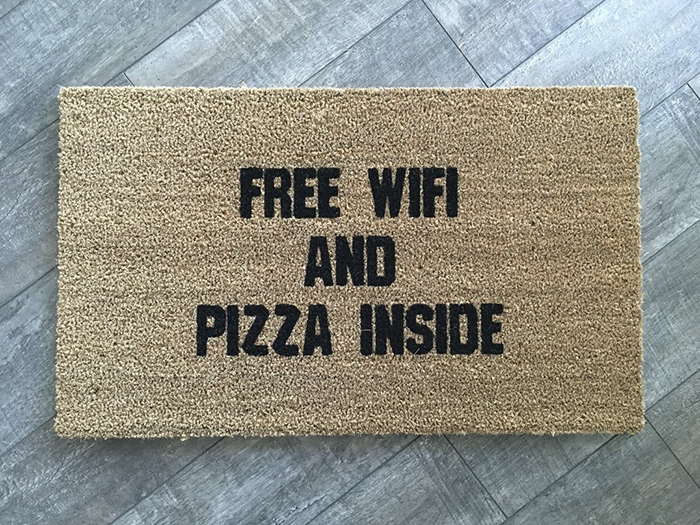 Free Wifi And Pizza Inside