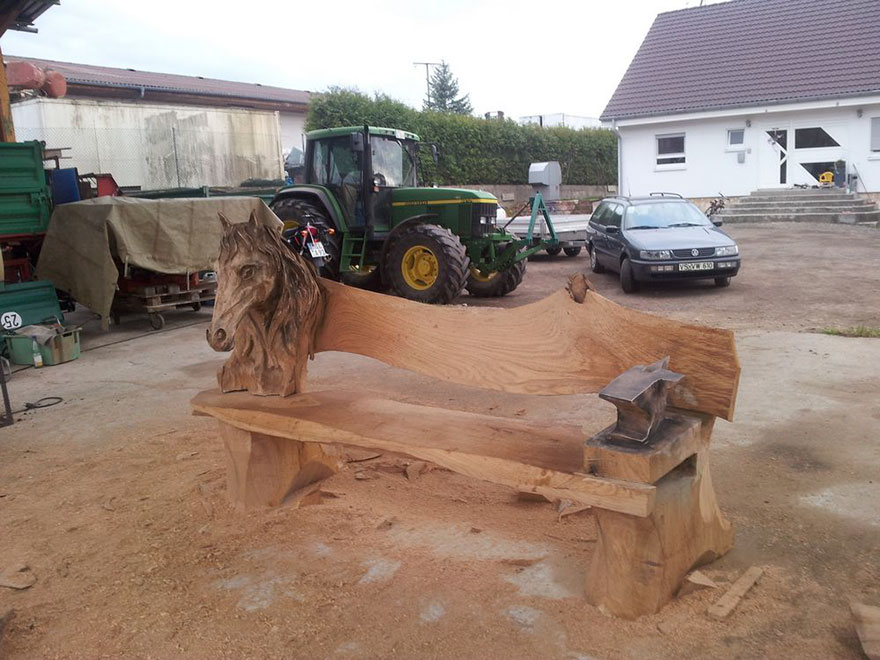 This incredible dragon bench was carved using a chainsaw