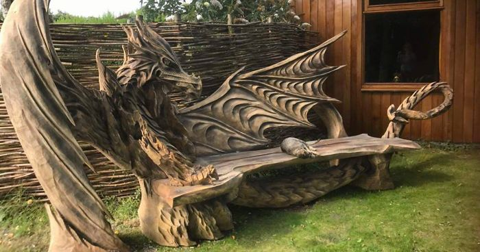 This incredible dragon bench was carved using a chainsaw bored panda