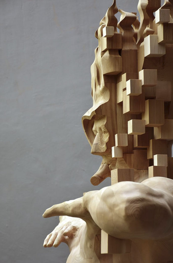 These Pixelated Sculptures That Look Like Computer Glitches Are - Taiwanese artist creates wooden sculptures that look like digital glitches