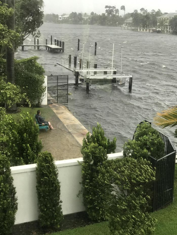 Florida Man Sits Outside During Irma