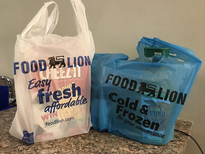My Grocery Store Bags Items In Blue Bags If They're Cold So You Can Put Them Away First