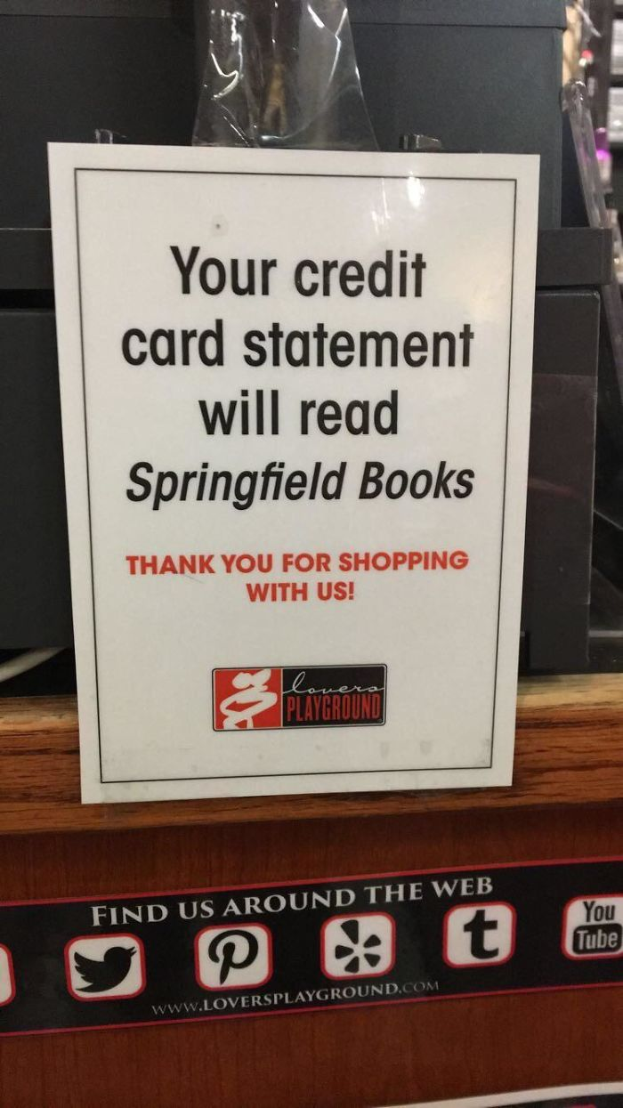 This Sex Shop Changes Its Name To A Book Store For Credit Card Statement